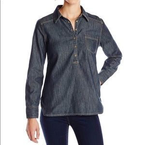 Life Is Good Chambray Button Pullover Top